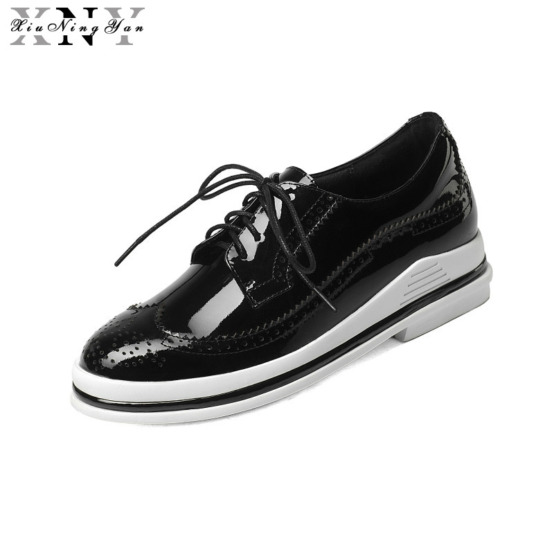 XIUNINGYAN  Women Flat Oxford Platform Shoes Creepers Round Toe Woman Lace-up 2017 Fashion Platform Brogue Oxford Shoes Women mcckle 2017 fashion woman shoes flat women platform round toe lace up ladies office black casual comfortable spring