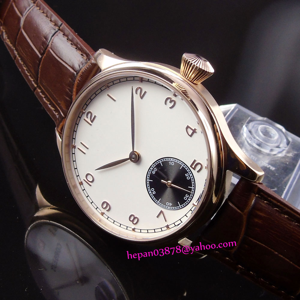 44mm Corgeut white sterile dial with black sub-dial rose golden stainless steel case 6498 Mechanical Hand Wind men's watch P189 купить недорого в Москве