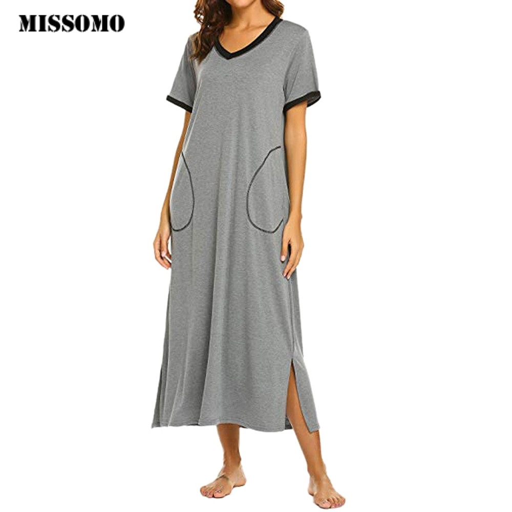 MISSOMO Summer Dress women Nightshirt Short Sleeve   Nightgown   Ultra-Soft with Pocket Sleepwear Dress Female   Sleepshirts   Casual