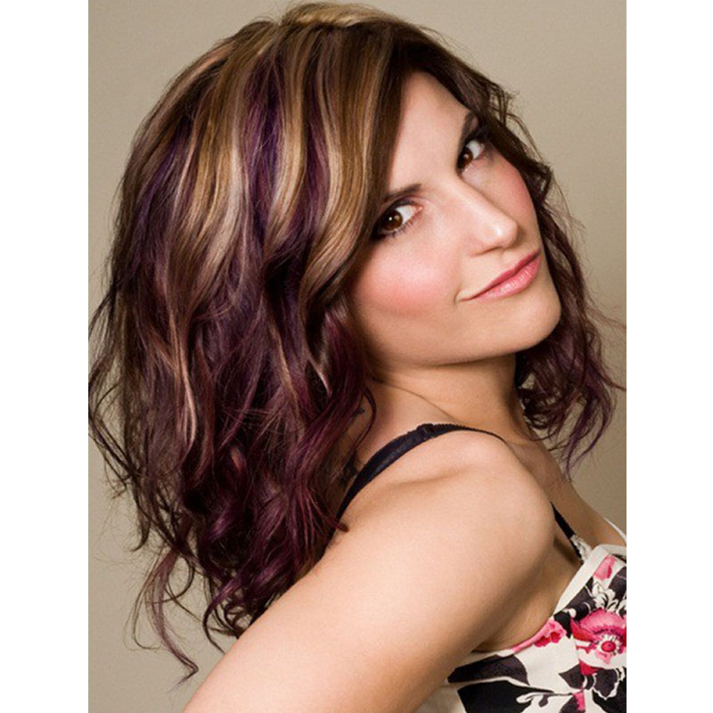 14 Inches Aubergine With Walnut Brown And Platinum Blonde Multi