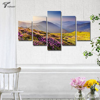 5 Piece MOUNTAIN Flowers Canvas Print Paintings For Wall And Home Decor Spring Landscape Pictures Set