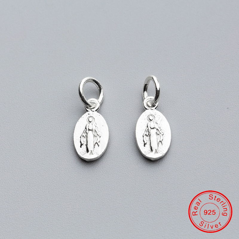 UQBing New Trendy Round Jesus 925 Sterling Silver Round Charms For Women Vintage Jewelry 2019