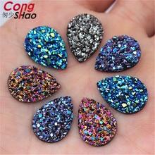 New Bling AB Colors 50PCS 13*18mm Mineral Surface Drop Resin Rhinestone Flatback Cabochon Stone DIY Wedding Decoration 8Y29