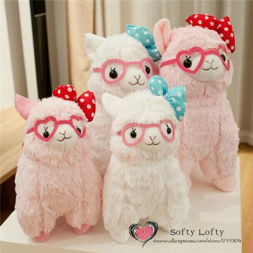 Tamaño M - envío gratis AM Alpaca de peluche juguetes 1 unid al por menor 35 cm kasso abundante gafas 4 estilos usar cute jiwa caliente animales de peluche