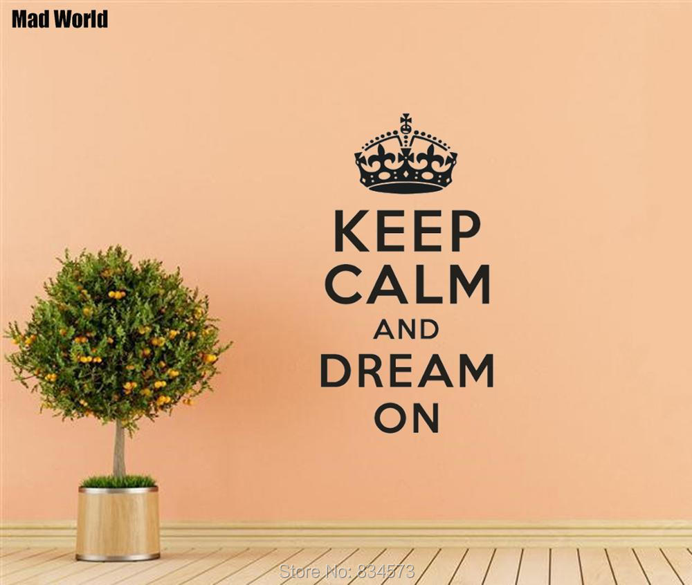 Mad World Keep Calm and Dream On Wall Art Stickers Wall Decal Home ...