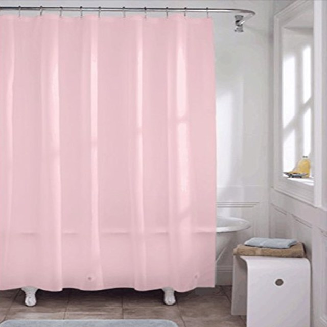 180x180cm Solid Color Waterproof Shower Curtain Mold Resistant Bath With 12 Hooks