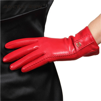 Brand Genuine Leather Gloves Autumn Winter Plus Warm Velvet Women Sheepskin Gloves Fashion Elegant Lady Driving Glove L170NC women s genuine leather gloves black sheepskin finger driving gloves spring autumn thin velvet lined warm fashion mittens tb13