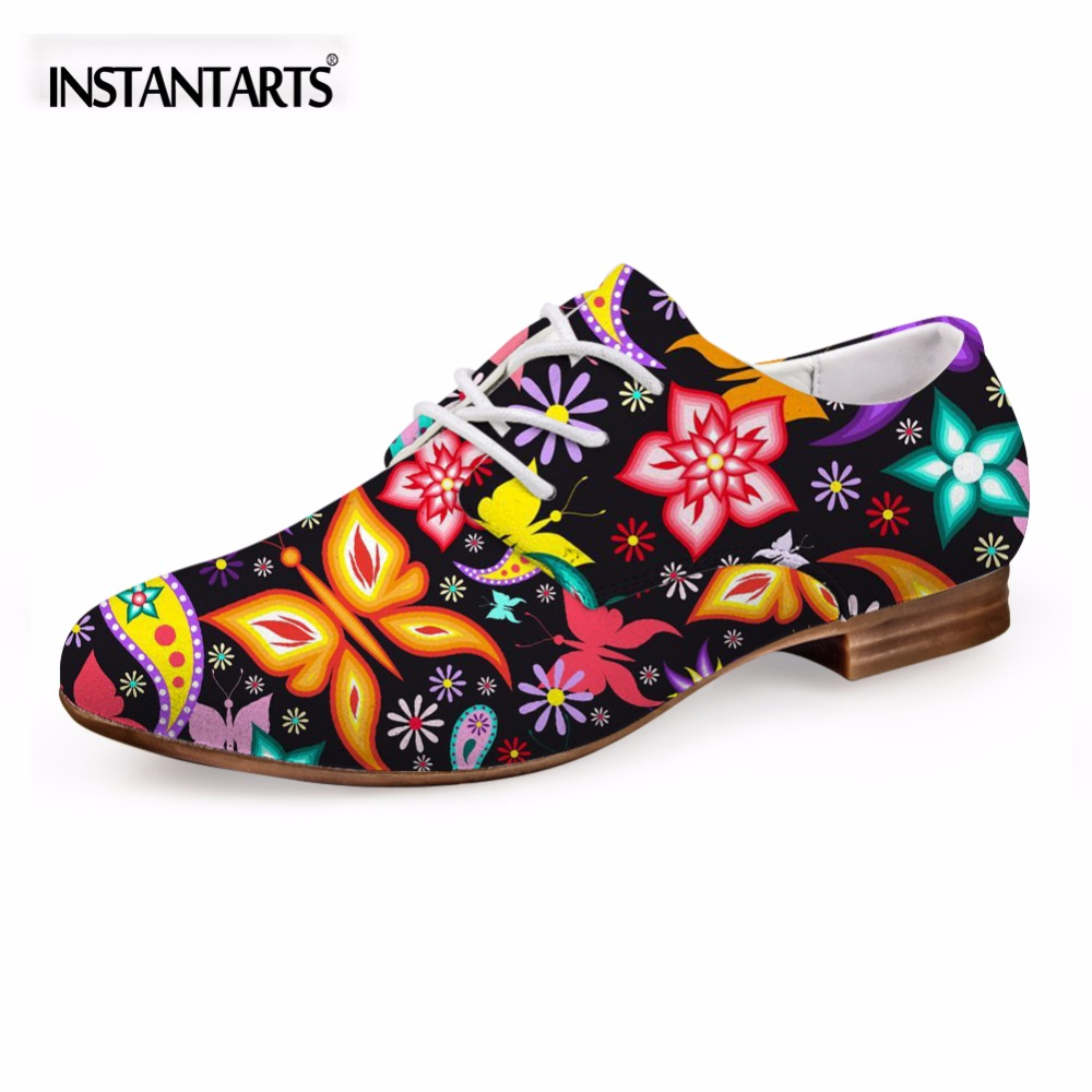 INSTANTARTS Women s Flats Casual Leather Shoes for Women Breathable Ladies Lace up Sunflower Oxfords Butterfly