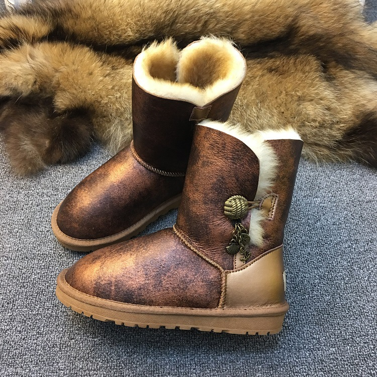 97e65c88a00 US $69.74 30% OFF|New Bronze Color Women Winter snow boots Real Australian  natural sheep fur boots Woman Fashion Keep Warm Shoes High Quality-in Ankle  ...