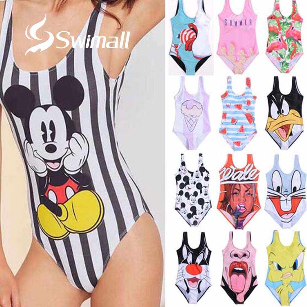 Baju Renang Wanita One Piece Swimsuit 2019 Kartun Kaki Tinggi Belakang Terbuka Bikini Plus Ukuran Berenang Memakai Pakaian Baju Monokini