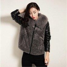 Ptslan Winter Coat Women 2017 Fashion Fur Hooded real Leather Down Jackets Autumn Winter Female shearling