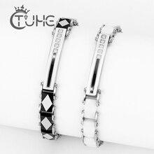 Beleza quente aço inoxidável cerâmica feminino pulseira 8mm largura dos homens moda senhora cristal pulseira jóias presente boa qualidade