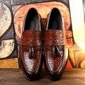Кисточкой Мужчины Оксфорд Обувь Мужская Натуральная Кожа Крокодила Повседневная Обувь Роскошные Платья Партии Свадебные Квартиры Обувь 3 цвета 2017 Новый