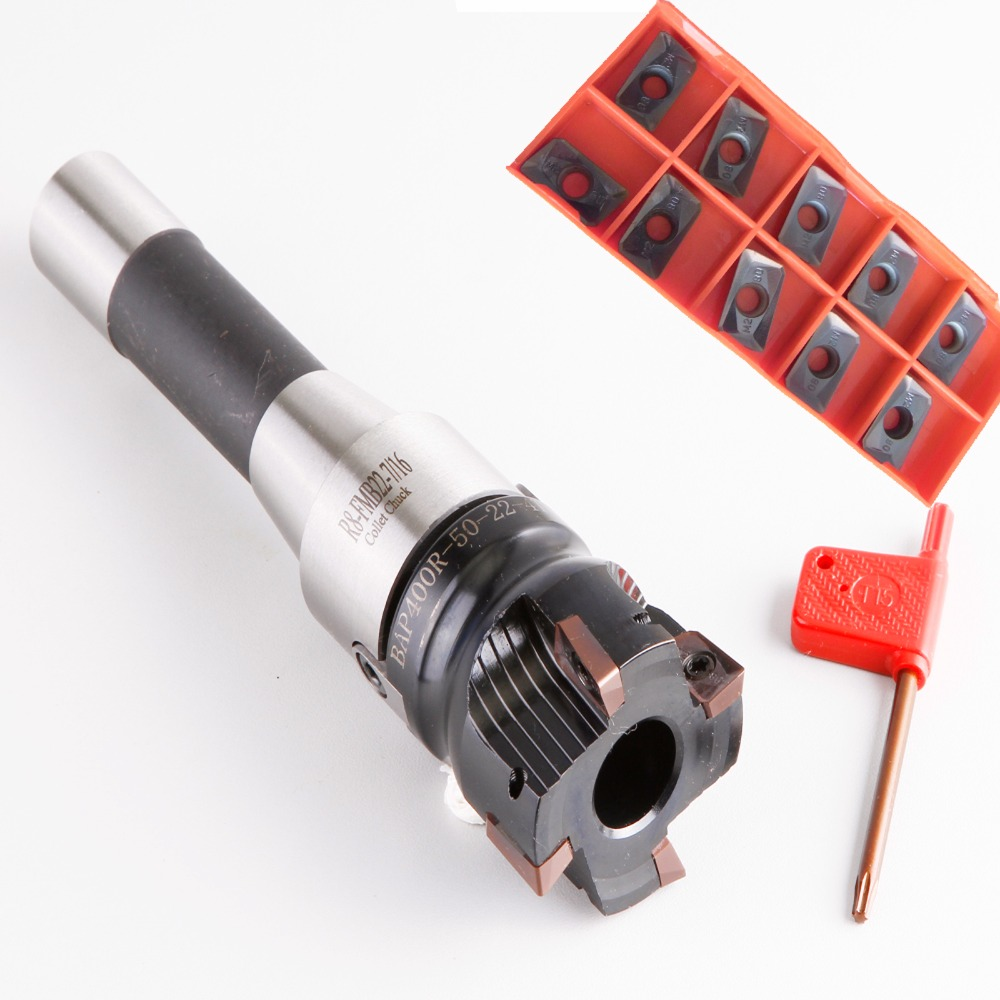 New R8 FMB22 arbor +400R 50MM face mill cutter and 10pcs inserts new arrival 1 set r8 fmb22 arbor with 400r 50mm face mill cutter and 10pcs carbide apmt1604 inserts tools accessories