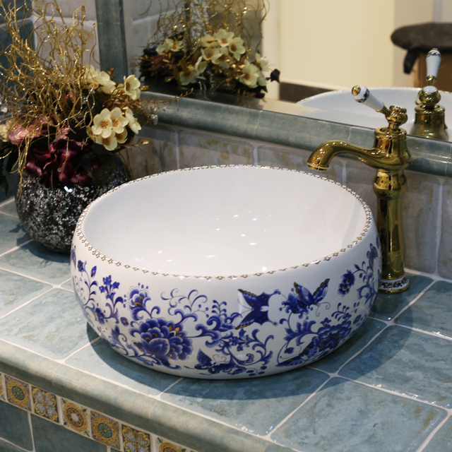 Europe Vintage Style Art Porcelain Countertop Basin Sink Ceramic Bathroom  Vessel Sinks Vanities Basins Ceramic Decorated