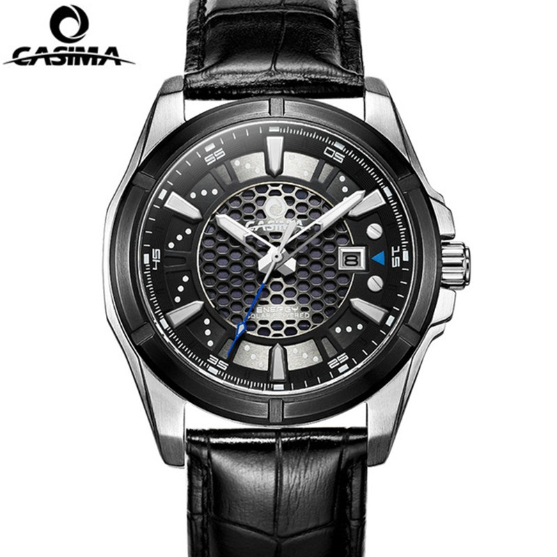 CASIMA Solar Men's Watch Men's Stainless Steel Watch Fashion Casual Watch Men's Waterproof 100m Luxury Business Watch