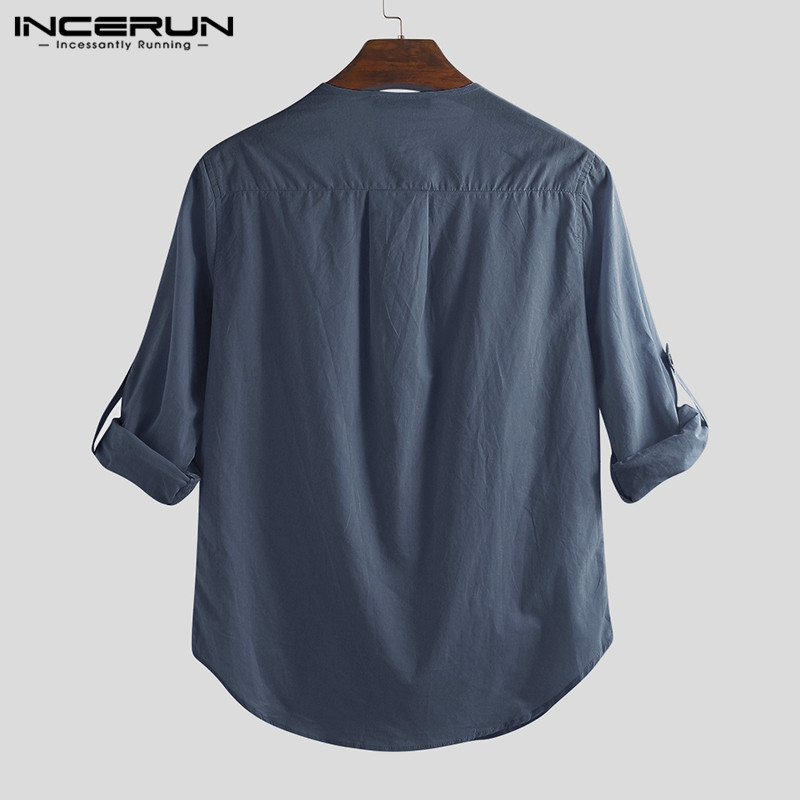 HTB1MjATabr1gK0jSZFDq6z9yVXas - INCERUN Fashion Men Shirt Long Sleeve Cotton Solid Casual Basic Shirt Men Tops
