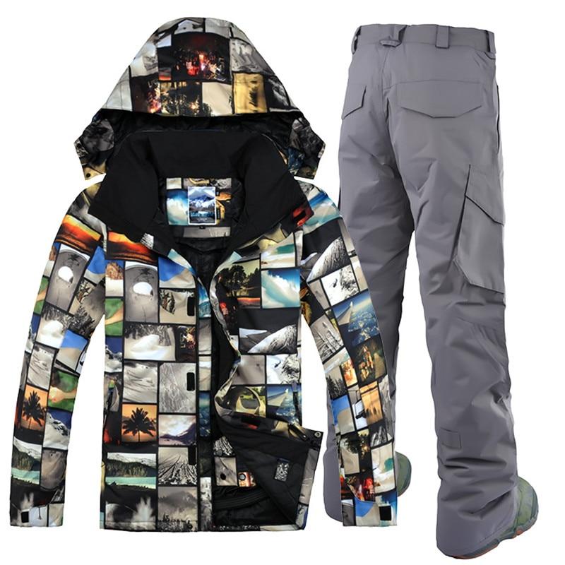 GSOU снег Высокое качество Мужские дышащие водонепроницаемые лыжные куртки мужские зимние комплекты зимняя мужская лыжный костюм теплая сно