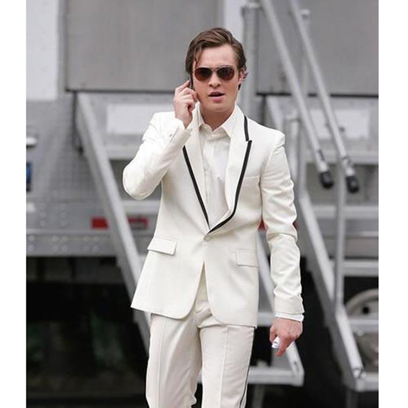 227 White Classic Design Men`s Dinner Party Prom Suits One Button Groom Tuxedos Business Mens Formal Wear (Jacket+Pants)