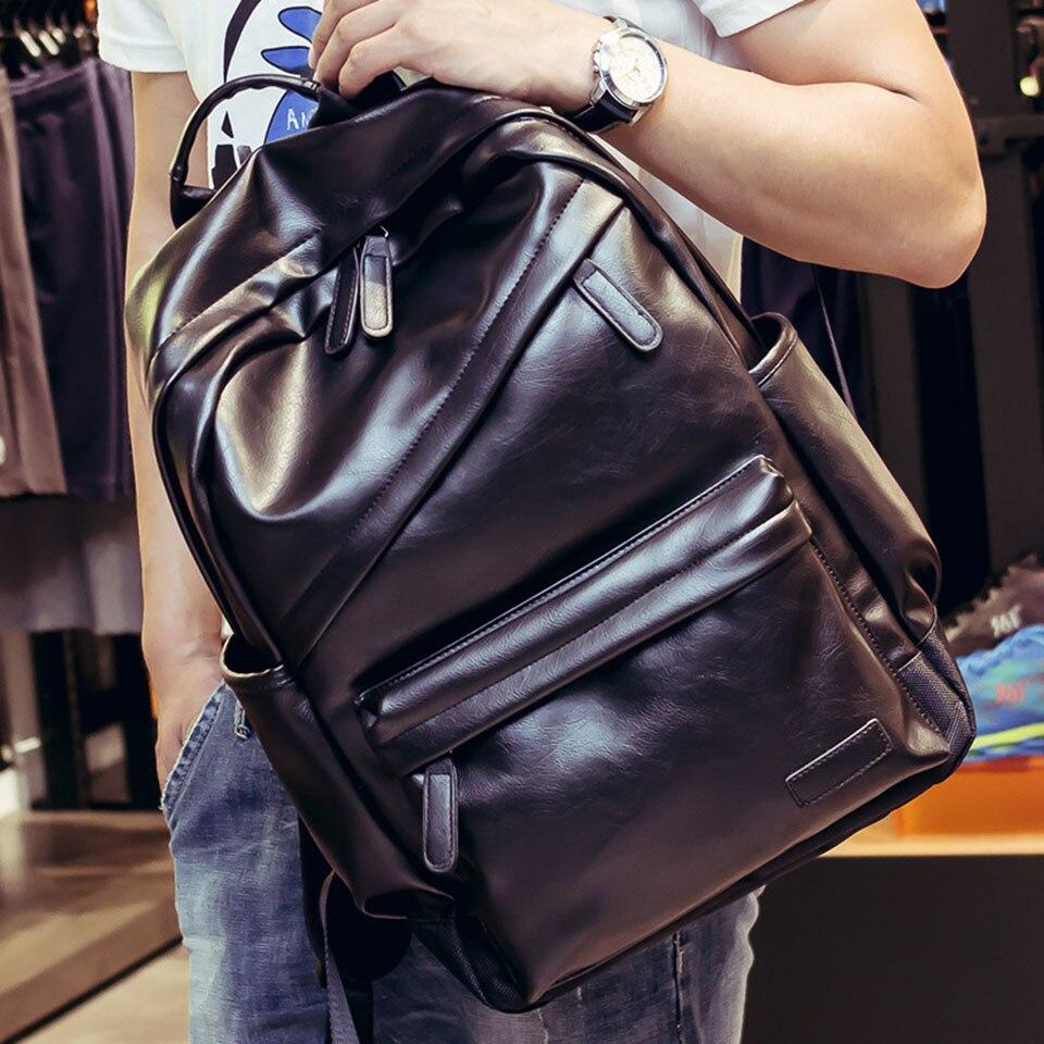 Business Casual Male Backpacks For School Travel Bag 2 Colors PU Leather Men's bagpack Shoulder Bags Retro Boys Men Backpack