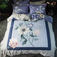 Bedding Set Luxury 4 Piece Sleek Minimalist Chinese Style Printed Linen Duvet Cover