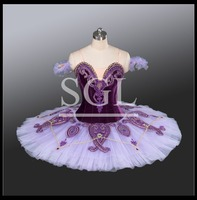 2016 New Collection Velvet Bodies Purple Color Professional Ballet Tutu Stage Costumes Dancewear For Girls Adults