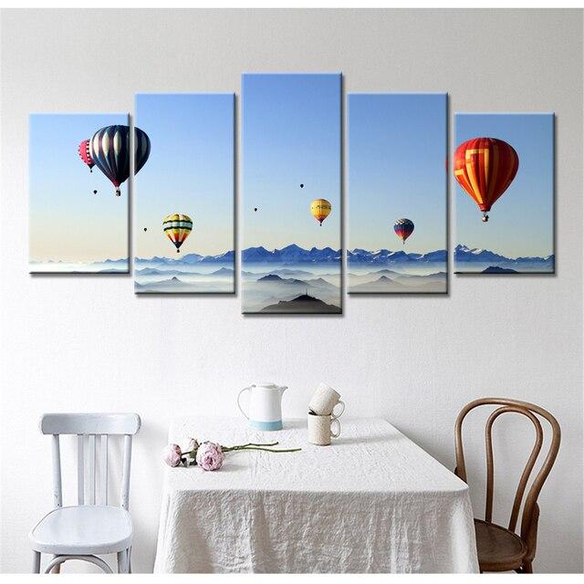 Wonderful 5 Panel Drop Shipping Modern Home Decor Hot Air Balloon Sea HD Printed  Painting Canvas Paints