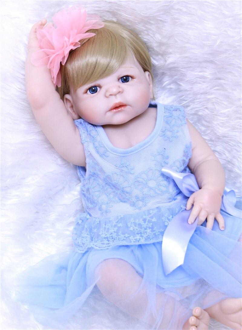 Really beautiful blue princess Girl 55cm Silicone Reborn Dolls Baby cute Doll Reborn Vinyl Boneca Reborn Doll For Girls toy LOL  - buy with discount