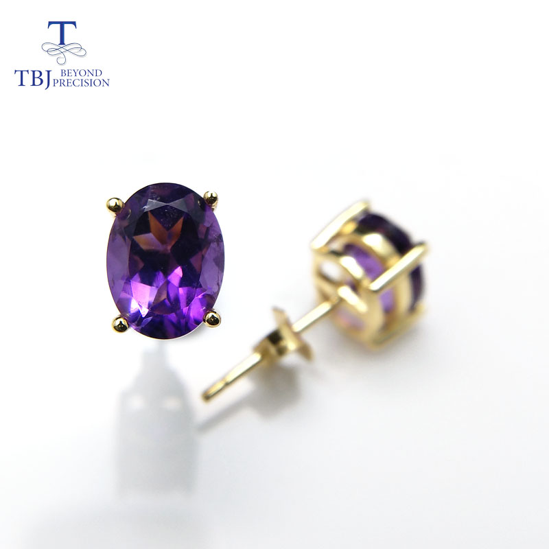 TBJ,natural Good Luster African Amethyst Oval 6*8mm 3ct Gemstone Simple Earring In 925 Yellow Gold Color For Girls With Box