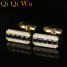 2017 New Luxury Crystal Cufflinks Gold Cubic High Quality Cuff Buttons Trendy Jewelry Mens Gift Honorable French Shirt Cuff link anchors cufflinks with studs for tuxedo shirt luxury gold color nautical sailing cuff link buttons