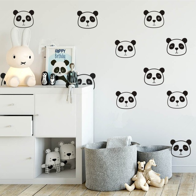 Panda Wall Decals Nursery Cute Face Baby Room Sticker Vinyl Kids