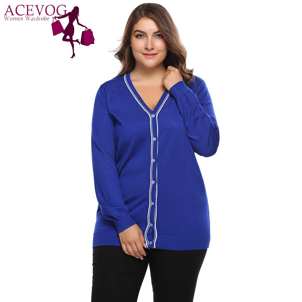 ACEVOG Women Sweater Cardigan Autumn Big Size Coat Casual Long Sleeve Button Patchwork Knitwear Large Coat Top Plus Size L-4XL