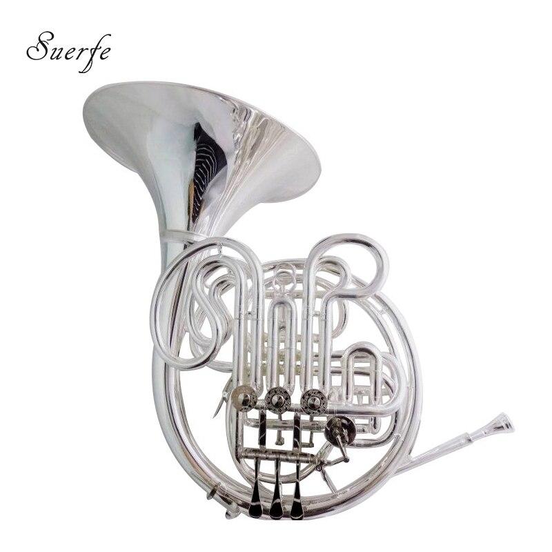 Александр 103 французский Рог F/Bb двухрядные Посеребренная отделка с чехлом и мундштук Музыкальные инструменты Professional