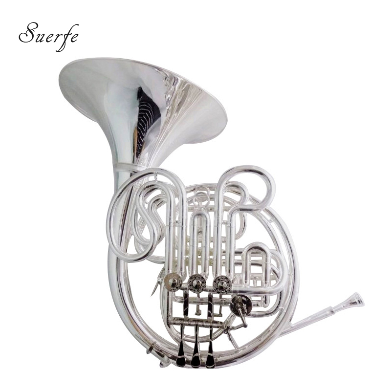 Alexander 103 French Horn F/Bb Double Row Silver Plated Finish with Case and Mouthpiece Musical Instruments Professional silver plated double french horn f bb 4 key brand new with case