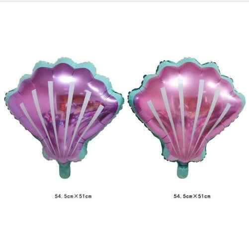2pcs New Pink purple hawaii shell foil balloons Mermaid Birthday Party Baby Shower Decorations Party Supplies sea Toy