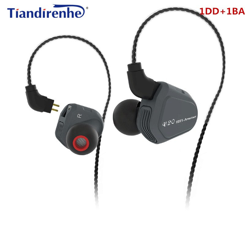 TRN V20 Dynamic Balanced Armature In-Ear Earphone 0.75mm 2PIN Stereo Bass Sport Noise Cancelling Earbuds Bluetooth PK KZ ZS5 ZS6 kz zsr bluetooth headphones balanced armature with dynamic in ear earphone 2ba 1dd unit noise cancel headset replacement cable