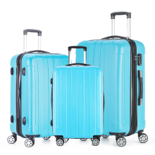 Fochier 2017 Journey Enterprise Carry-on Baggage Set ABS PC Suitcase 20 24 28 Upright Sturdy Cabin Case Spinner Wheels Blue