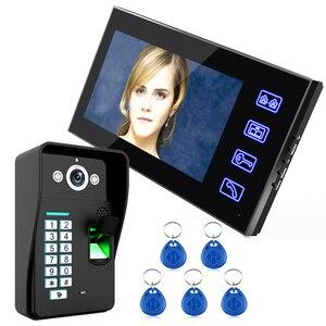 "Image 1 - 7 ""אינץ RFID טביעות אצבע מצלמה וידאו דלת הטלפון אינטרקום פעמון עם IR CUT IR קו טלוויזיה HD 1000 מערכת בקרת גישה מרחוק"