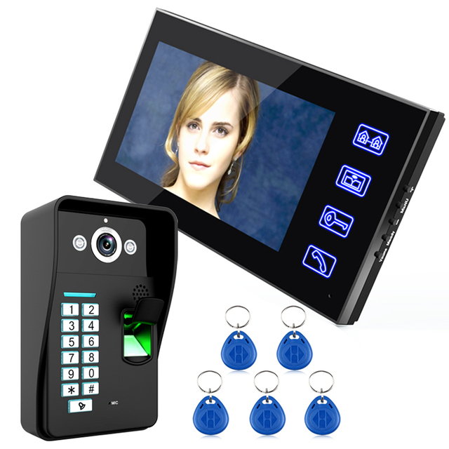 """7 """"אינץ RFID טביעות אצבע מצלמה וידאו דלת הטלפון אינטרקום פעמון עם IR CUT IR קו טלוויזיה HD 1000 מערכת בקרת גישה מרחוק"""