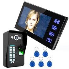 """7 """"pulgadas de huellas dactilares RFID video puerta teléfono intercomunicador Timbres de puerta con IR CUT ir cámara HD 1000 línea de TV remoto Control de acceso sistema"""