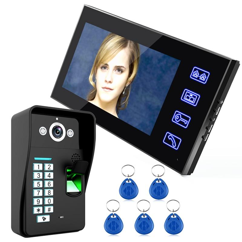 MOUNTAINONE 7 Inch RFID Fingerprint Video Door Phone Intercom Doorbell With IR-CUT IR Camera HD 1000 TV Line Wireless Remote