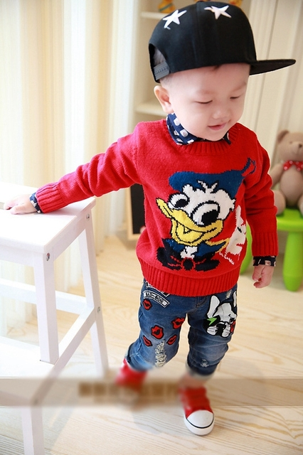 Hitz Korean Children's pants baby child dog feet jeans for girls and boy jeans 2-7 years