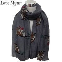Free shipping ! Fashion Owl Print Woman Scarf In Grey Colour