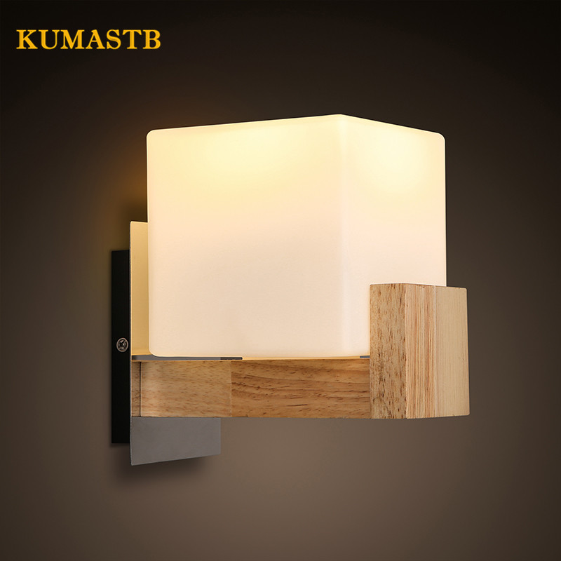 Modern Simple Bedroom Study Wall Lamps Square Wall Light with Wood Base Sconce Restaurant Cafe Bar Wood Lamp