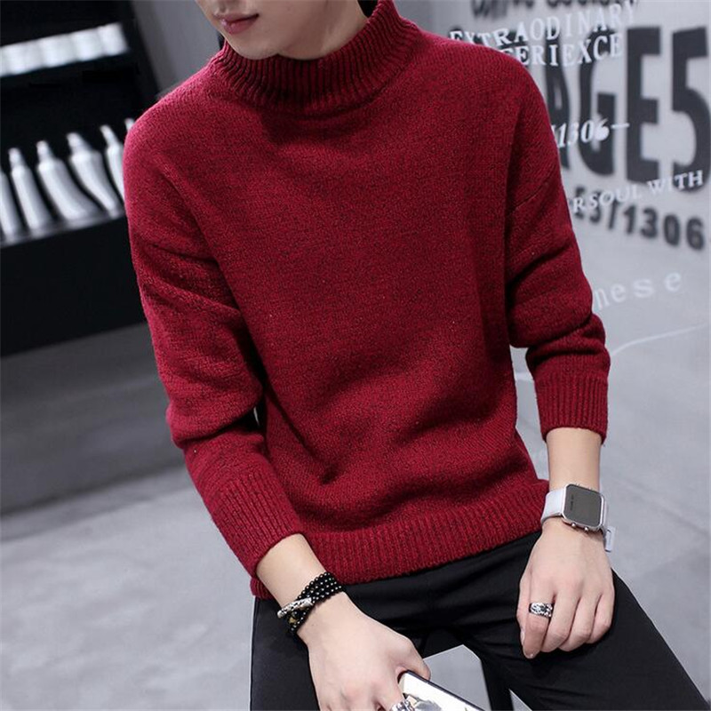 Mens Christmas Sweater Solid Colors Turtleneck Knitted Pullovers ...