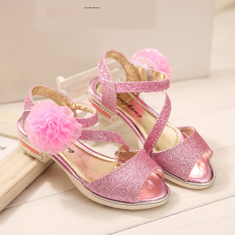 40a546c5de9c New 2015 Summer Children s Sandals Princess Beautiful Flower Kids Girls  Shoes Sweet Bowtie Gold Silver Girls Dance Shoes-in Sandals from Mother   Kids  on ...