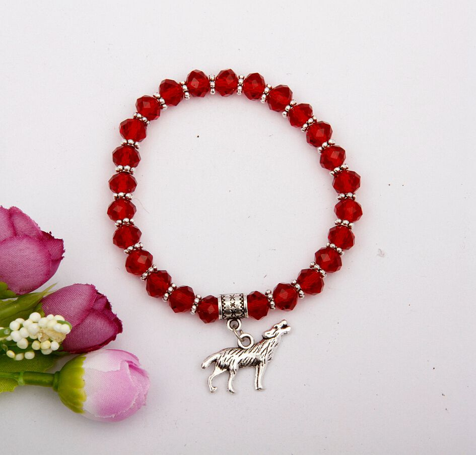 10pcs Hot Fashion Charm Jewelry Vintage Silver Whippet Dog Red Wine Glass Beaded Elastic Rope Bracelets For women Shipping A317