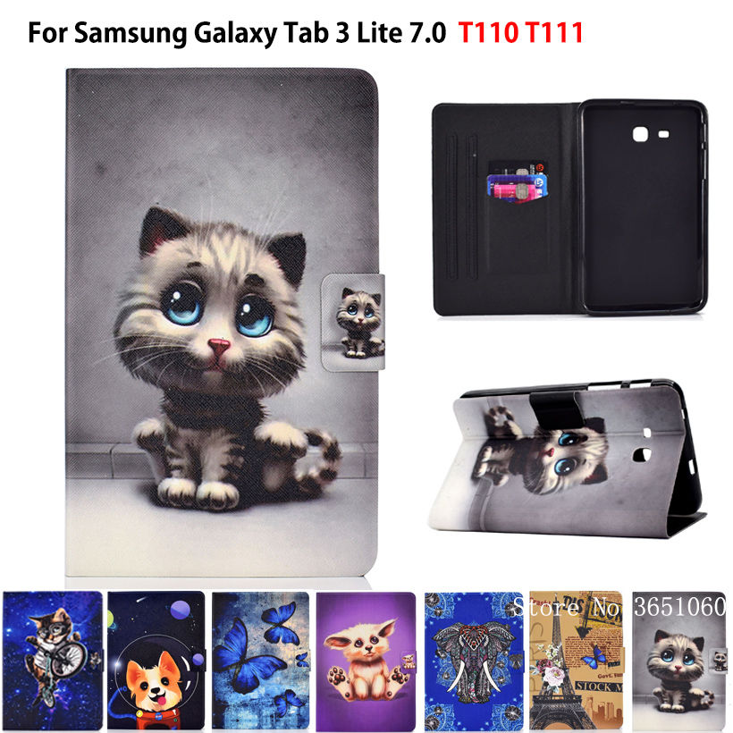 Cute Cat <font><b>Case</b></font> For <font><b>Samsung</b></font> <font><b>Galaxy</b></font> <font><b>Tab</b></font> 3 Lite <font><b>7.0</b></font> SM-T110 T111 T115 T116 Cover Funda Painted Silicon PU Leather Stand Shell Capa image