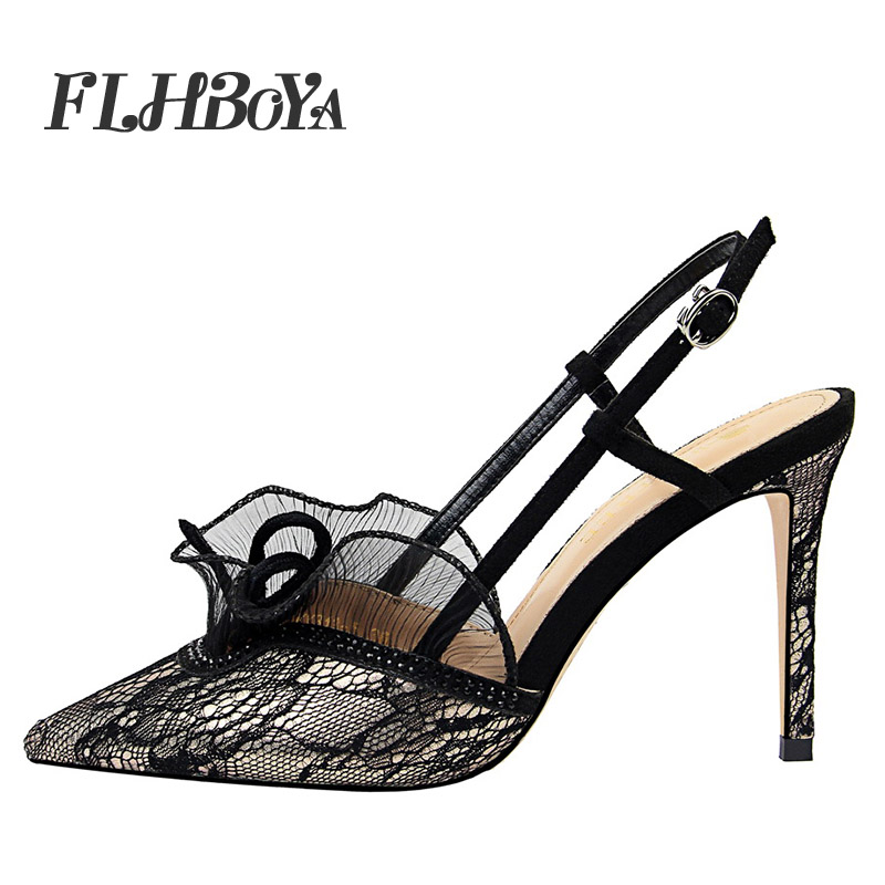 FLHBOYA Summer Women Sexy Thin High Heels Ankle Strap Sandals Black Mesh Pointed Toe Buckle Lace Ruffles Femme Party Shoes Pump все цены