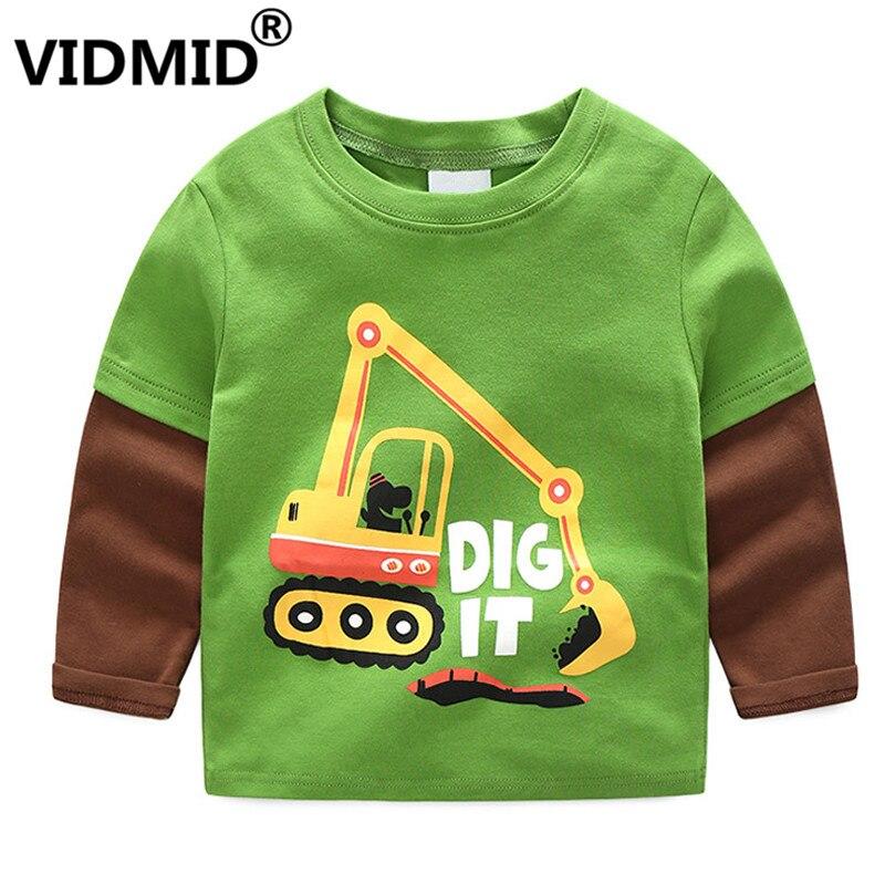 VIDMID T-Shirts Kids Tractor Long-Sleeve Tops Clothing Tees Baby-Boys Cotton Cartoon